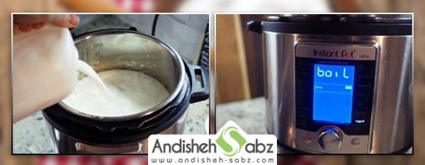 جوشاندن شیر خام برای تهیه ماست خانگی - اندیشه سبز