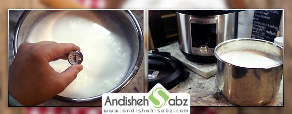 خنک کردن شیر قبل از مایه زنی برای تهیه ماست خانگی - سایت اندیشه سبز