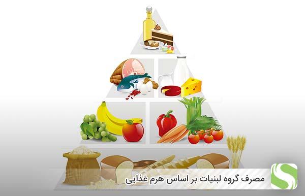 مصرف گروه لبنیات بر اساس هرم غذایی - اندیشه سبز