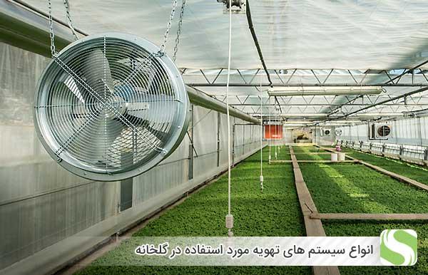 انواع سیستم های تهویه مورد استفاده در گلخانه - اندیشه سبز