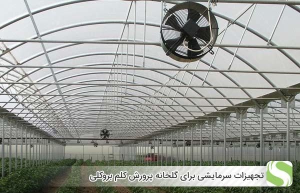 تجهیزات سرمایشی برای گلخانه پرورش کلم بروکلی - اندیشه سبز